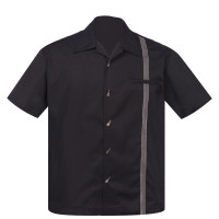 Steady Clothing The Six String Button Up Bowling Shirt Black