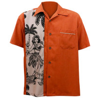 Steady Clothing The Leilani Button Up Bowling Shirt Rust
