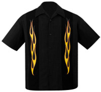 Steady Clothing Flame N Hot Button Up Bowling Shirt Black