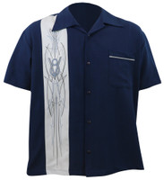 Steady Clothing V-8 Pinstripe Button Up Bowling Shirt Navy