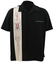 Steady Clothing V-8 Pinstripe Button Up Bowling Shirt Black Stone