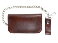 "Lucky 13 Old Speed Genuine Embossed Leather 6"" Chain Wallet Antiqued"