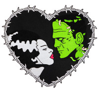 Universal Monsters Frankenstein & Bride Heart Embroidered Iron On Back Patch