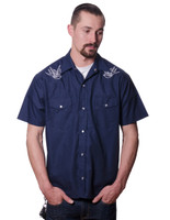 Steady Clothing Sparrow Western Button Up Shirt Navy
