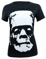 Universal Monsters Juniors Black & White Frankenstein Head T-Shirt