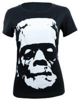 Universal Monsters Juniors Black & White Frankenstein Head T-Shirt