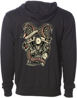 Lucky 13 Twin Cobras Zip-Up Hoodie Black