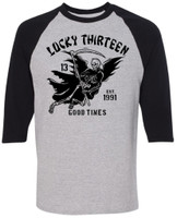 Lucky 13 Good Time Reaper Raglan T-Shirt Heather Grey