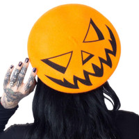 Kreepsville 666 Trick or Treat Pumpkin Orange Beret Hat