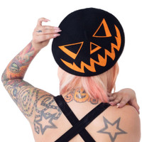 Kreepsville 666 Trick or Treat Pumpkin Black Beret Hat