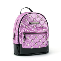 Rock Rebel Unicorn Studded Quilted Mini Backpack Pink Glitter