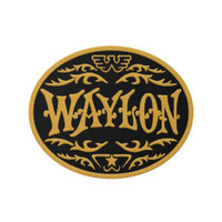 Waylon Jennings Buckle Logo Yellow Embroidered Patch