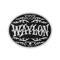 Waylon Jennings Monogram White Embroidered Patch