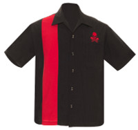 Steady Clothing Skull Piston Button Up Bowling Shirt Black Red