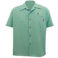 Steady Clothing Tiki Retro Stitch Button Up Bowling Shirt Light Teal