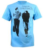 Simon And Garfunkel Men's Walking Slim-Fit Blue T-Shirt