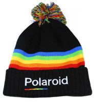 Authentic Polaroid Jaquard Spectrum Embroidered Black Cuff Knit Beanie