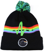 Authentic Pink Floyd Jacquard Stripe Patch Black Embroidered Cuff Knit Beanie