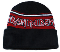 Authentic Iron Maiden Black and Red Cuff Knit Beanie