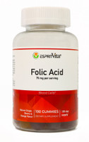 Esprit Vita Folic Acid Gummies 75mg Per Serving Natural Flavors Healthy Blood Cell Formula 100ct