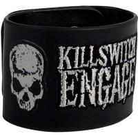 Killswitch Engage Skulls Logo Leather Wrist Cuff Bracelet Black