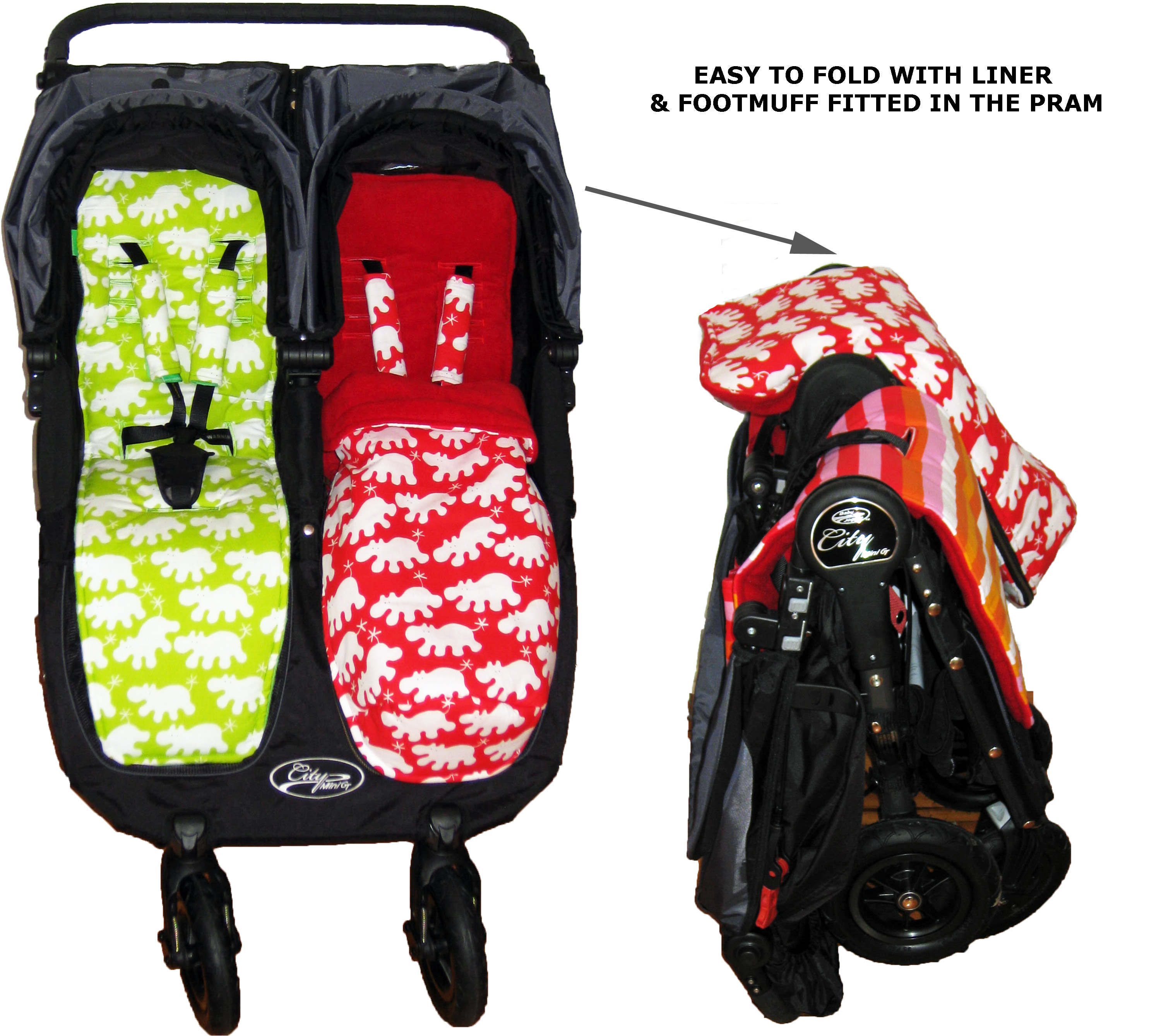 Baby Jogger City Mini Gt Double Pram Liners And Snuggle Bags