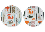 Forest Animals Cream & Mint BJCMGT Double Pram Liner Set