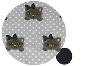 Little Kitty on Polka Dot Cotton Pram Liner to fit Mountain Buggy