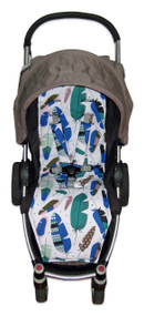 Feathers Teal & Blue Cotton Pram Liner to fit Agile/Agile Plus