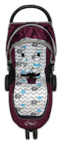 Chevron Grey & Blue Elephants Cotton Pram Liner to fit Baby Jogger- back in stock!