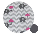 Chevron Grey & Pink Elephants Cotton Pram Liner to fit Joolz Geo