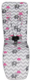 Chevron Grey & Pink Elephants Cotton Pram Liner to fit Baby Jogger City Mini GT