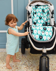 Geo Bears Teal Cotton Universal Fit Pram Liner