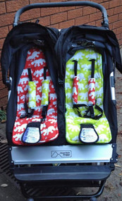 Hippo Red and Hippo Green 2x pram liners to fit Mountain Buggy Duet