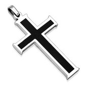 "316L Stainless Steel Pendant. Black Cross with 24"" stainless steel ball chain"