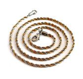 Wholesale Stainless Steel 2.4mm Rope Chain Necklaces-Half gold plated twist
