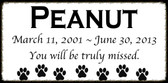 "6"" x 3"" Custom White Tile - Pet Memorial Marker"