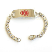 Medical Alert Identification. Thick Stainless Steel ID Bracelet - Never tarnish. FREE Engravingl