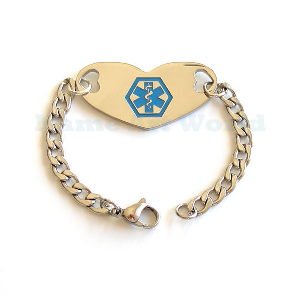 Medical Alert Identification Heart shape  Thick Stainless Steel ID Bracelet  - Never tarnish  FREE Engraving
