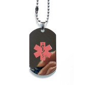 Medical Alert Dog Tag. Regular Size in Stainless Steel