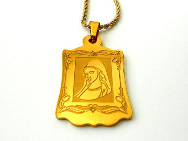 Frame of Saint Mary Gold IP 316L Stainless Steel Pendant