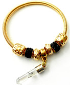 Name On Rice gold color Bracelet with a Black beads -one size (7 inch) with a family tree charm.