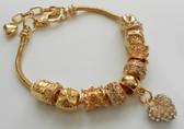 Woman Bracelet Luxury Crystal Heart Charm Gold plated Bracelets & Bangle for  Lady