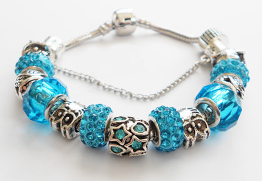 Beautiful Woman Bracelet. Blue accents.