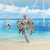 Palm Tree Pearl Cage SILVER PLATED Pendant Necklace