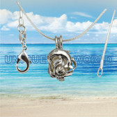 Dolphin Pearl Cage SILVER PLATED Pendant Necklace