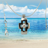 Cross Charm with White Pearl Cage SILVER PLATED Pendant Necklace