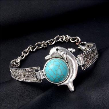 New Fashion Retro Silver Turquoise Dolphin Pendant Bangle Cuff Bracelet