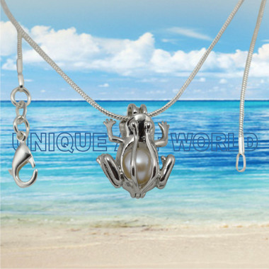 Flower SILVER PLATED Pearl Cage Pendant Necklace