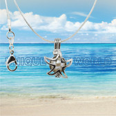 Turtle SILVER PLATED Star Fish Cage Pendant Necklace